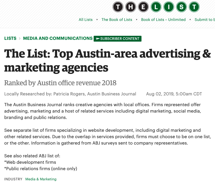 The List: Top Austin-area advertising & marketing agencies