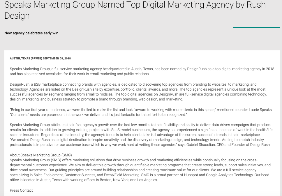 Speaks Marketing Group Named Top Digital Marketing Agency by Rush Design