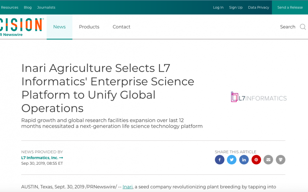 Inari Agriculture Selects L7 Informatics' Enterprise Science Platform to Unify Global Operations
